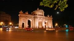 Famous Puerta de Alcala Landmark at night in Madrid, Spain Stock Footage