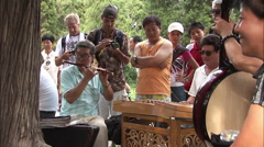 Traditional Chinese music in Beijing park Stock Footage