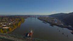 Aerial Oregon Portland St Johns Bridge Stock Footage
