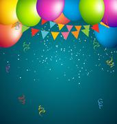 balloons party color full on blue background - stock illustration