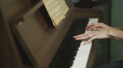 Female Hands Playing A Piano Stock Footage