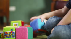 Child Playing With Building Blocks - stock footage