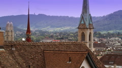 Church Steeples of Zurich Stock Footage