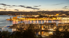 Time Lapse of the Scenic Port of Oslo in the Evening -  Norway Europe Stock Footage
