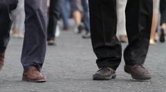 Peoples Feet Walk on Cobblestone Stock Footage