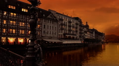 Lucerne Switzerland Sunset Stock Footage