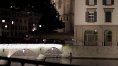 Grossmunster Church Zurich at Night Panup - stock footage