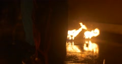 Dancers Are Putting Out a Fire on a Torches Finished the Dance Troupe is Stock Footage