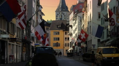 Zurich Streets with Saint Peter Clocktower Sunset Stock Footage