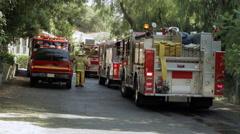 Fire Trucks Grouped on Street Stock Footage