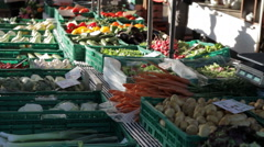 Farmers Market Vegetable Stall Stock Footage
