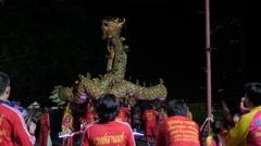 Chinese dragon dance performance,Bangkok,Loi Krathong,Thailand Stock Footage
