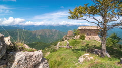Mountain time lapse with old ruins Stock Footage