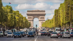 Time lapse of traffic in Champs de Elysees with the Triumph Arc - stock footage