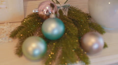 New Year's toys on the Christmas tree close up - stock footage