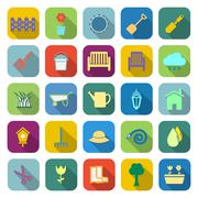 Gardening color icons with long shadow Stock Illustration