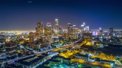 Aerial view downtown city Los Angeles skyline night. 4K UHD timelapse hyperlapse Stock Footage