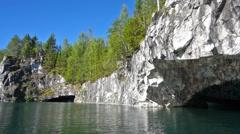 Marble quarry in Ruskeala, Karelia, pan view Stock Footage
