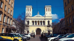 Peter and Paul Apostles Church at Nevsky Prospect in St.Petersburg, Russia Stock Footage