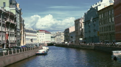 Moika River Quay in St. Petersburg, Russia Stock Footage