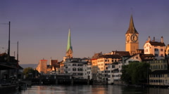 Zurich South View from Rudolf Brun Bridge Morning Wide Stock Footage