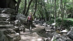 Stock Video Footage of Woman Hikes on Creek Trail