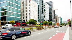 Time Lapse of Traffic & Bar Code Buildings Oslo Norway Europe - stock footage