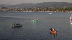 Small Boats Fishing Lake Zurich Stock Footage