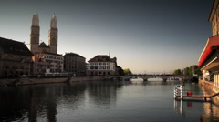 River Waterfront with Grossmunster Church Stock Footage
