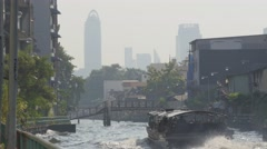 River transport ferry on Khlong Saen Saep canal,Bangkok,Thailand Stock Footage