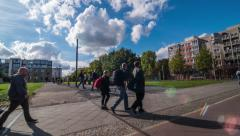 Time lapse of a square by a monument in memory of the Berlin wall - stock footage