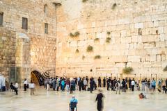 People approaching the Western Wall i Jerusalem - stock photo
