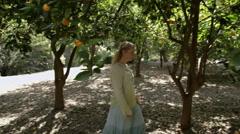 Woman Walks in Orange Grove Steadycam Stock Footage