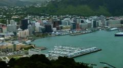 Wellington New Zealand Wide City Pan Stock Footage