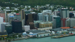 Wellington New Zealand CBD Waterfront Pan Stock Footage