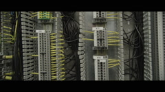 Electrical cable routing patch panel full of wires Stock Footage