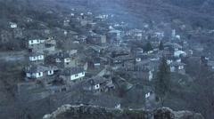 Medieval village with stone houses in the mountains-Bulgaria Stock Footage