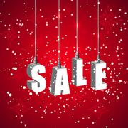 Winter sale red banner with white hanging letters Stock Illustration
