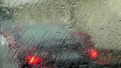 Rain in the car windscreen. Stock Footage