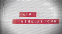 ATF regulations label background Stock Footage