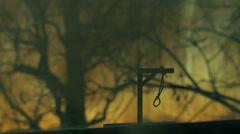 creepy gallows noose outside hanging hang - stock footage