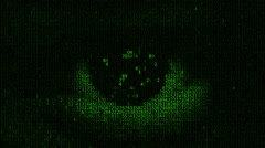 Hacker looking at the camera with laptop, binary codes projections and animation Stock Footage