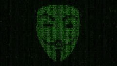 Hacker attack. Hacker A person from a binary hexadecimal code. Stock Footage