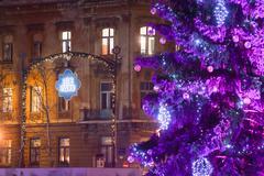 Purple Christmas tree in Zagreb Stock Photos