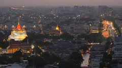 Golden mount and democracy monument in evening,Bangkok,Thailand Stock Footage