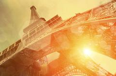 The Eiffel tower is one of the most recognizable landmarks in th Stock Photos