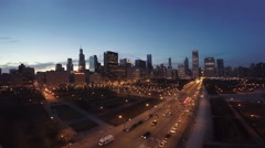 Chicago Aerial Skyline at Night Arkistovideo