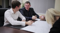 Business people laughing during a break Stock Footage