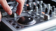DJ Working with Sound mixing console Stock Footage