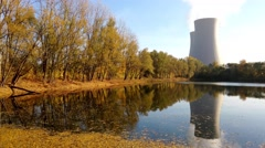 Nuclear power plant next the pond and its reflection in the water - stock footage